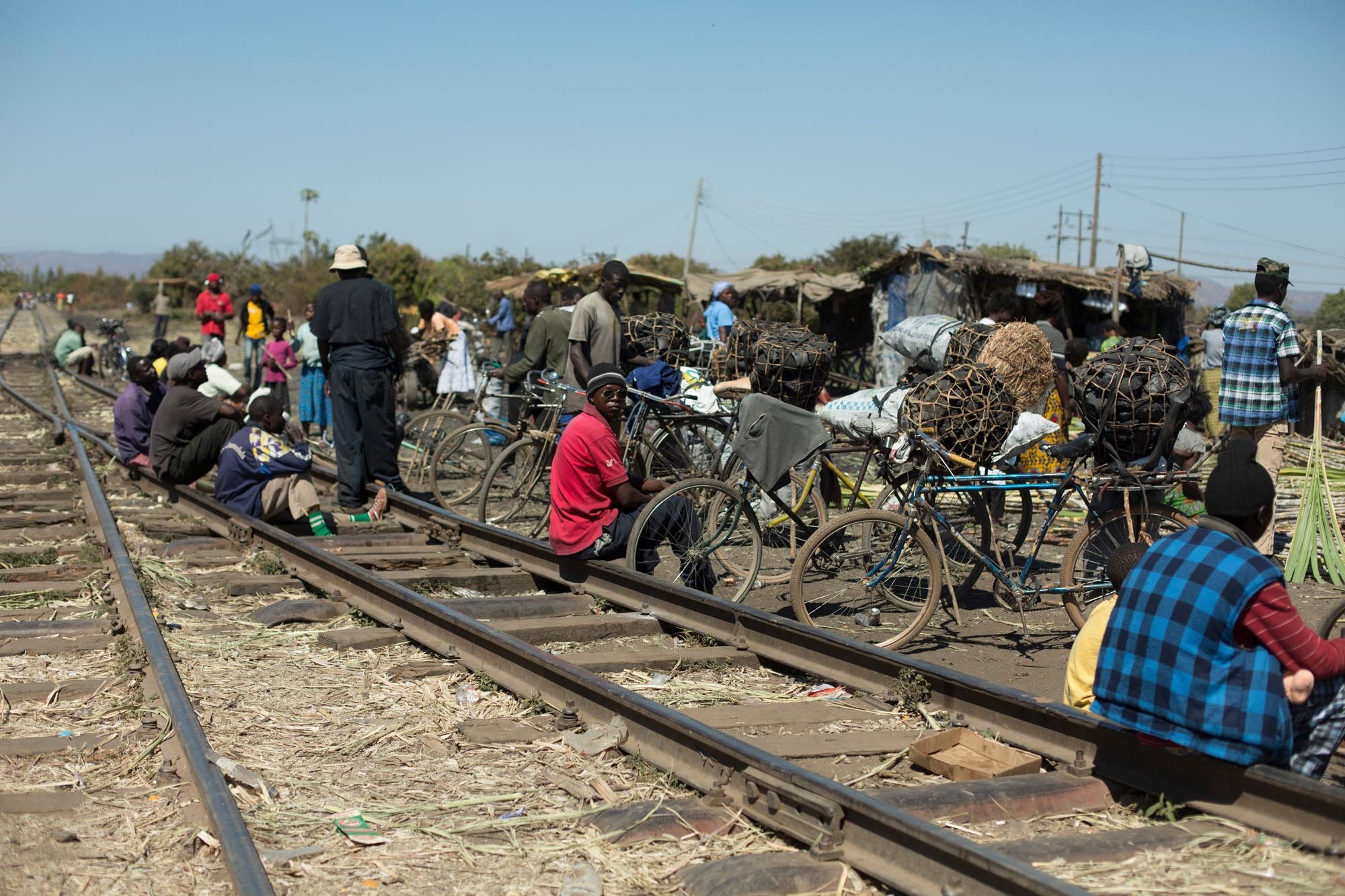 Charcoal traders on rail tracks Zambia