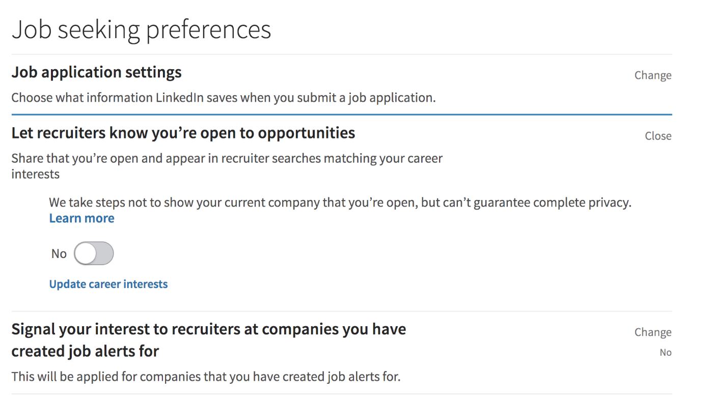 LinkedIn's Job Seeking Area