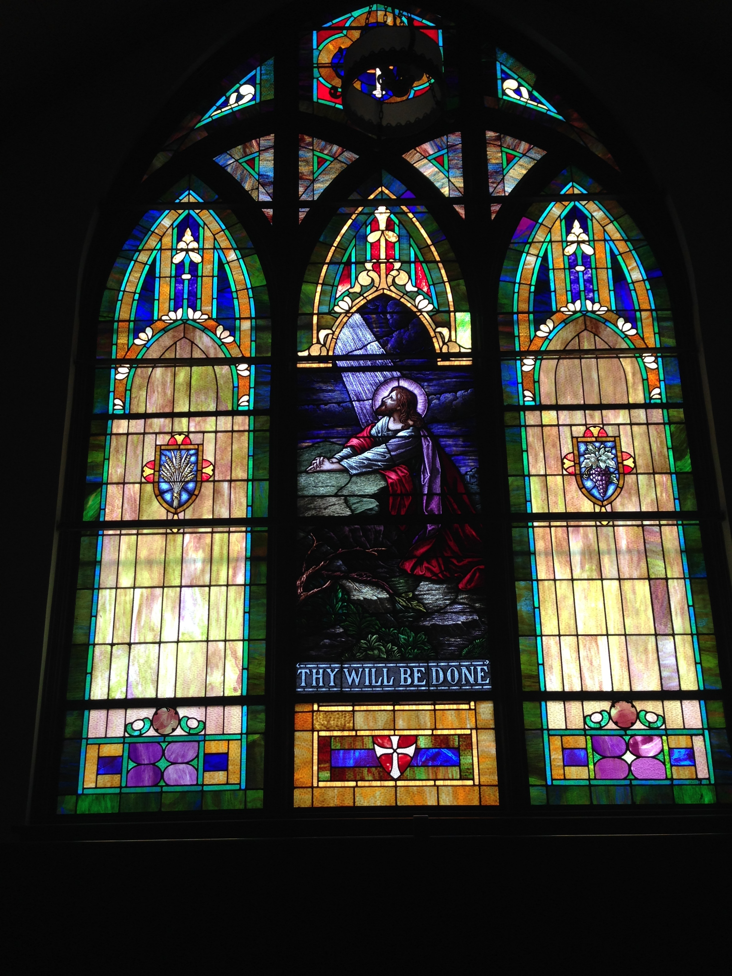 This window is above the balcony in the sanctuary of the First Baptist Church of Lorraine, KS
