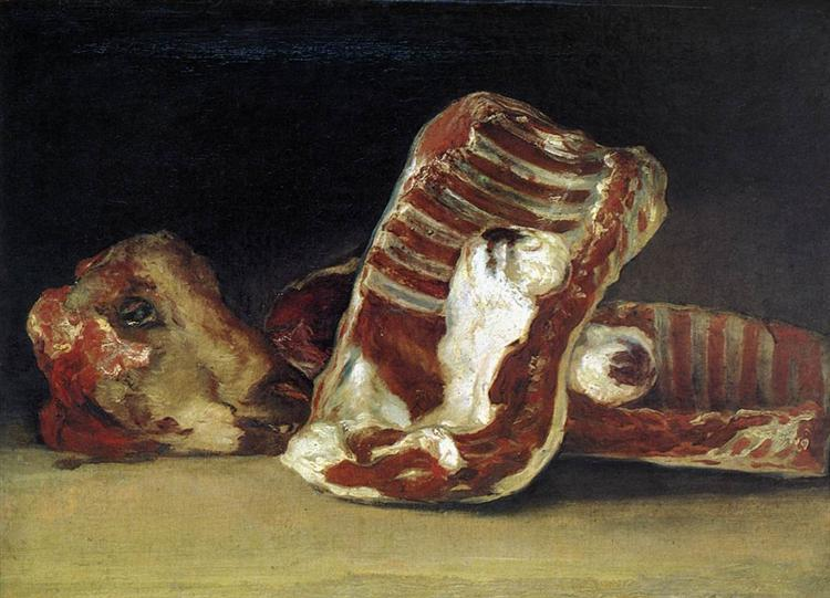 Francisco de Goya - Still life of Sheep's Ribs and Head