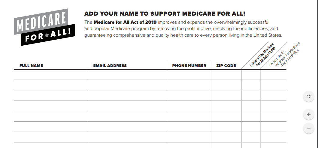 SUPPORT MEDICARE FOR ALL PETITION