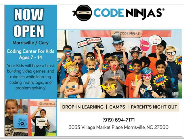 The Raleigh Kids Directory Recommend Code Ninja - Cary/Morrisville @codeninjascary  #Coding #CaryNC #Morrisville #codingforkids #Codingfun #professionalteam #logicalreasoning #CaryDropinLearning #LearningCenter #math #Summercamp #SummerinCary #SummerinMorrisville