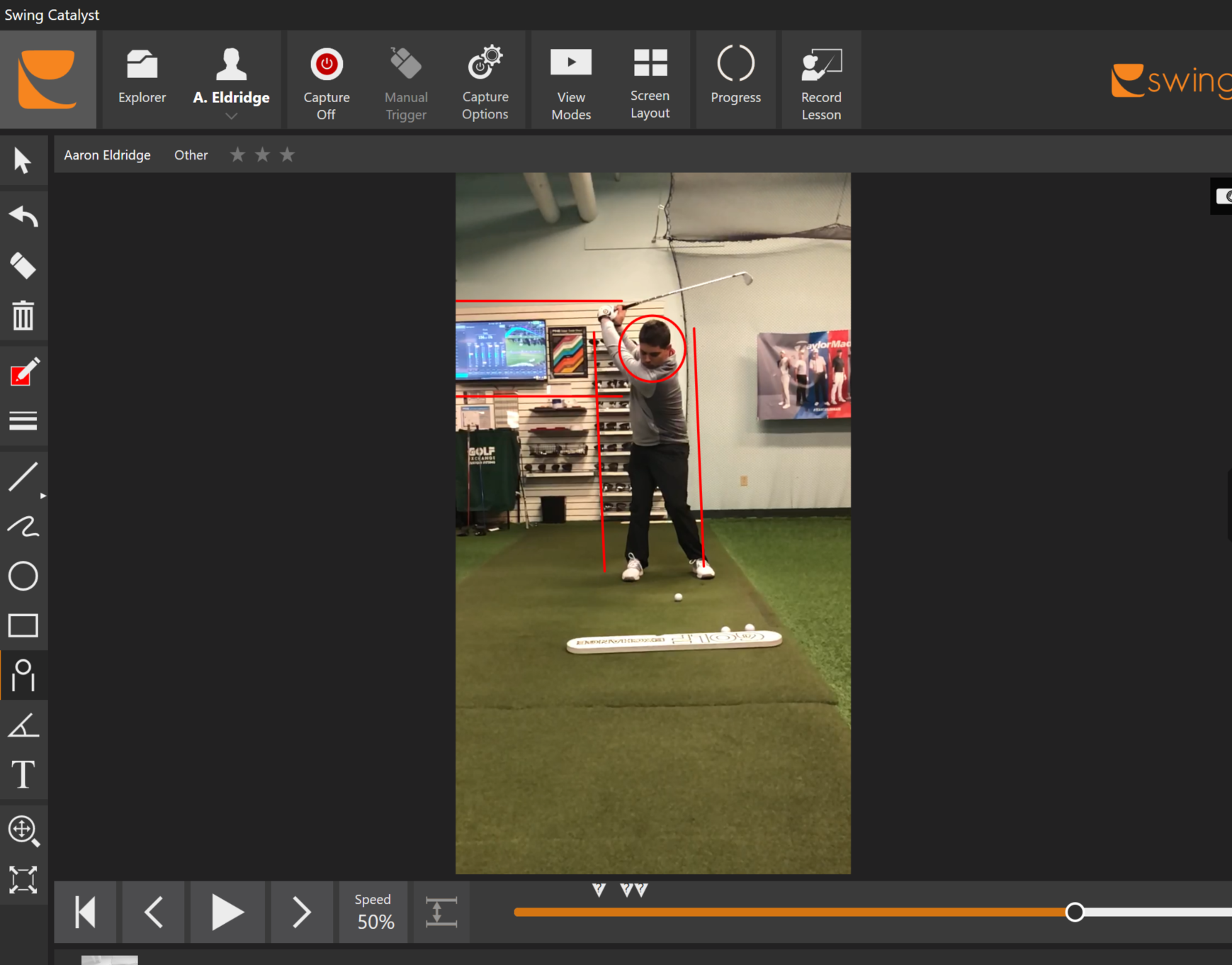 Swing Analysis - When you sign up for lessons with me, you will receive an online locker where all of our lessons and swing videos are analysed, recorded, and sent to you. You can even upload practice sessions and I will be able to view them! Each recorded lesson will give an analyzed breakdown of the certain positions that we covered from the previous lesson. Swing videos are analyzed through the V1 system and the Swing Catalyst system.