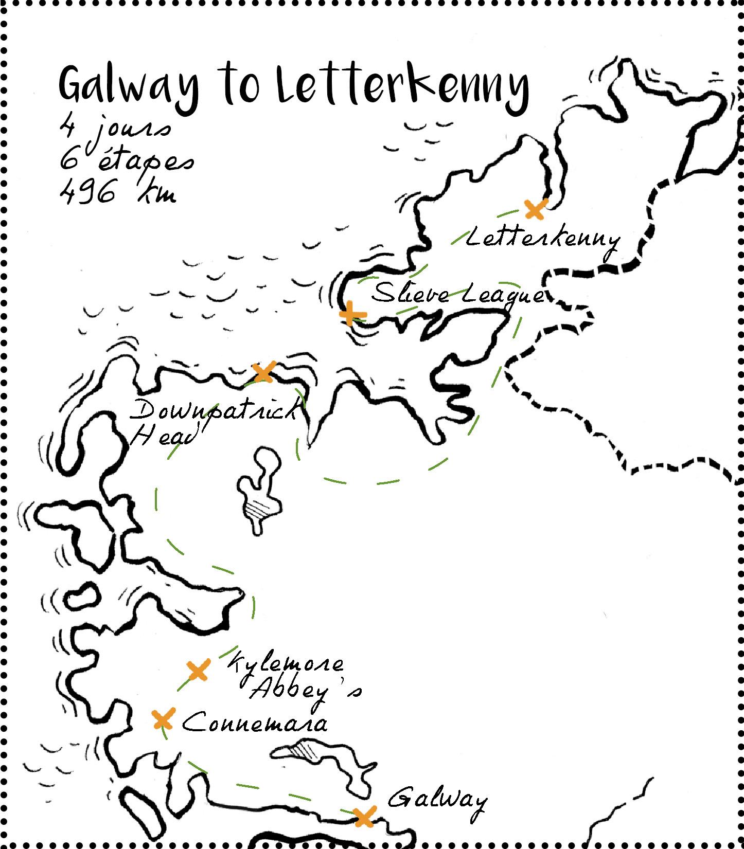 Itinéraire de Galway à Letterkenny