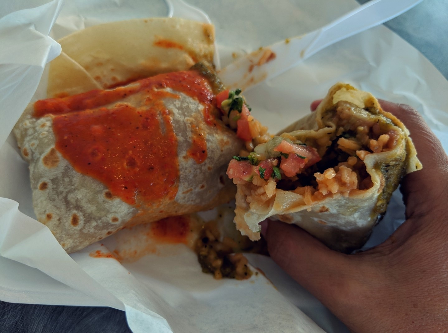 Real good veg burrito and a very funny name-Beaver Taco's!