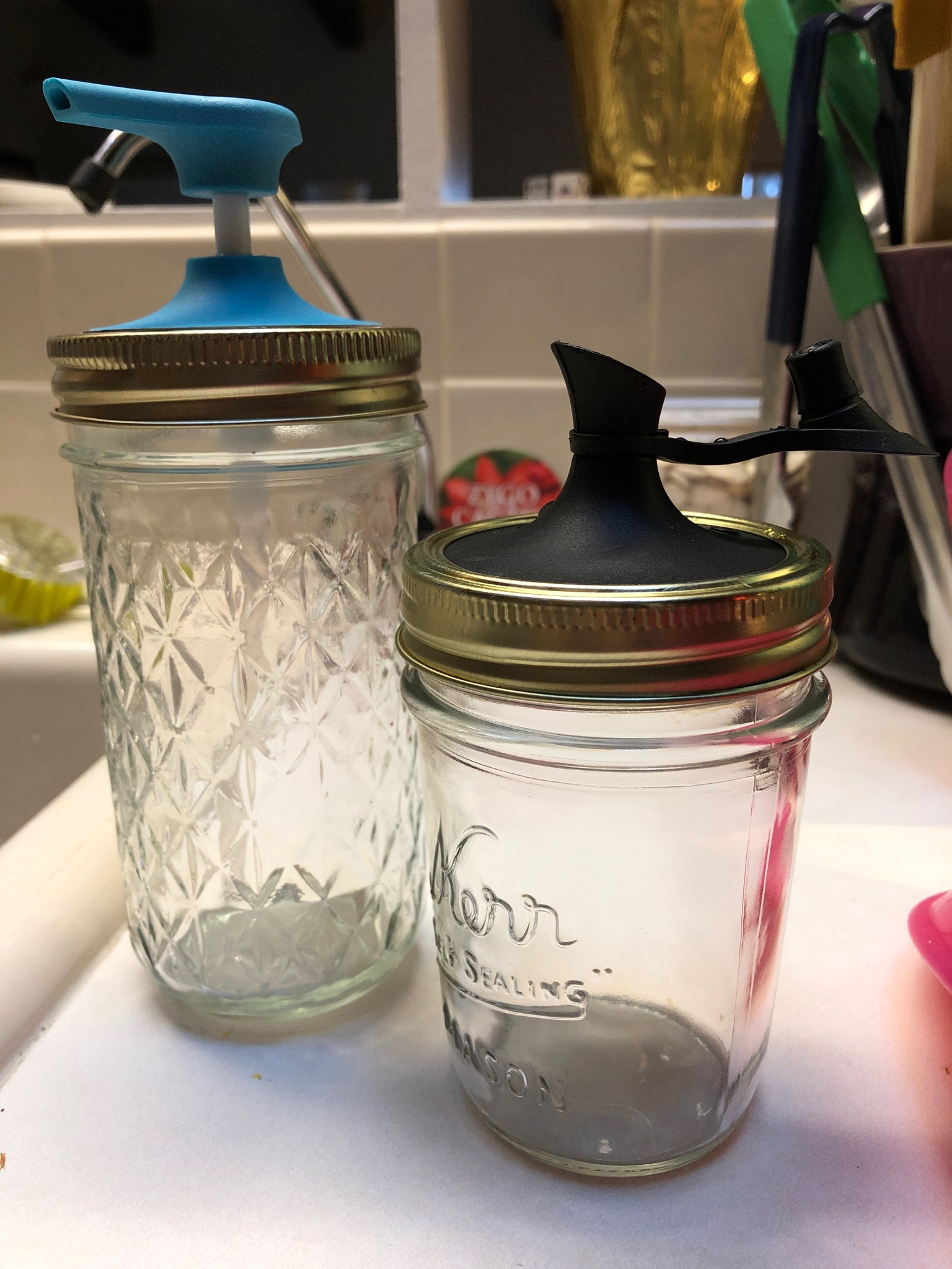 Pumps and pourers make a simple mason jar into so much more.