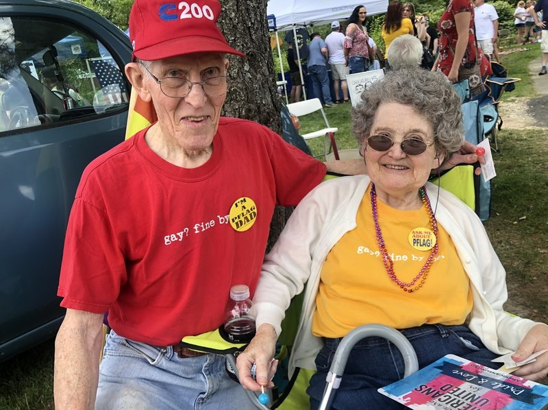 "Rev. Jerry Miller and his wife Bea at the picnic. The couple wears matching t-shirts that read ""Gay? Fine by me."" Picture Credit-Monique LaBorde for NPR"