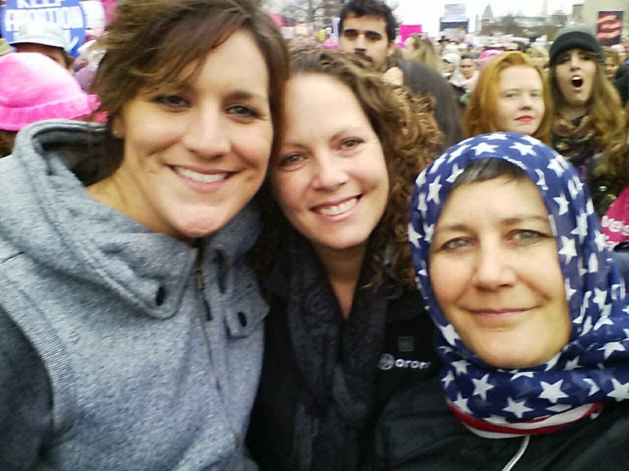 This Stars and Stripes scarf was placed on my head like a hijab by an American Muslim when I was at the Women's March in 2017, so that we could show our solidarity for one another.
