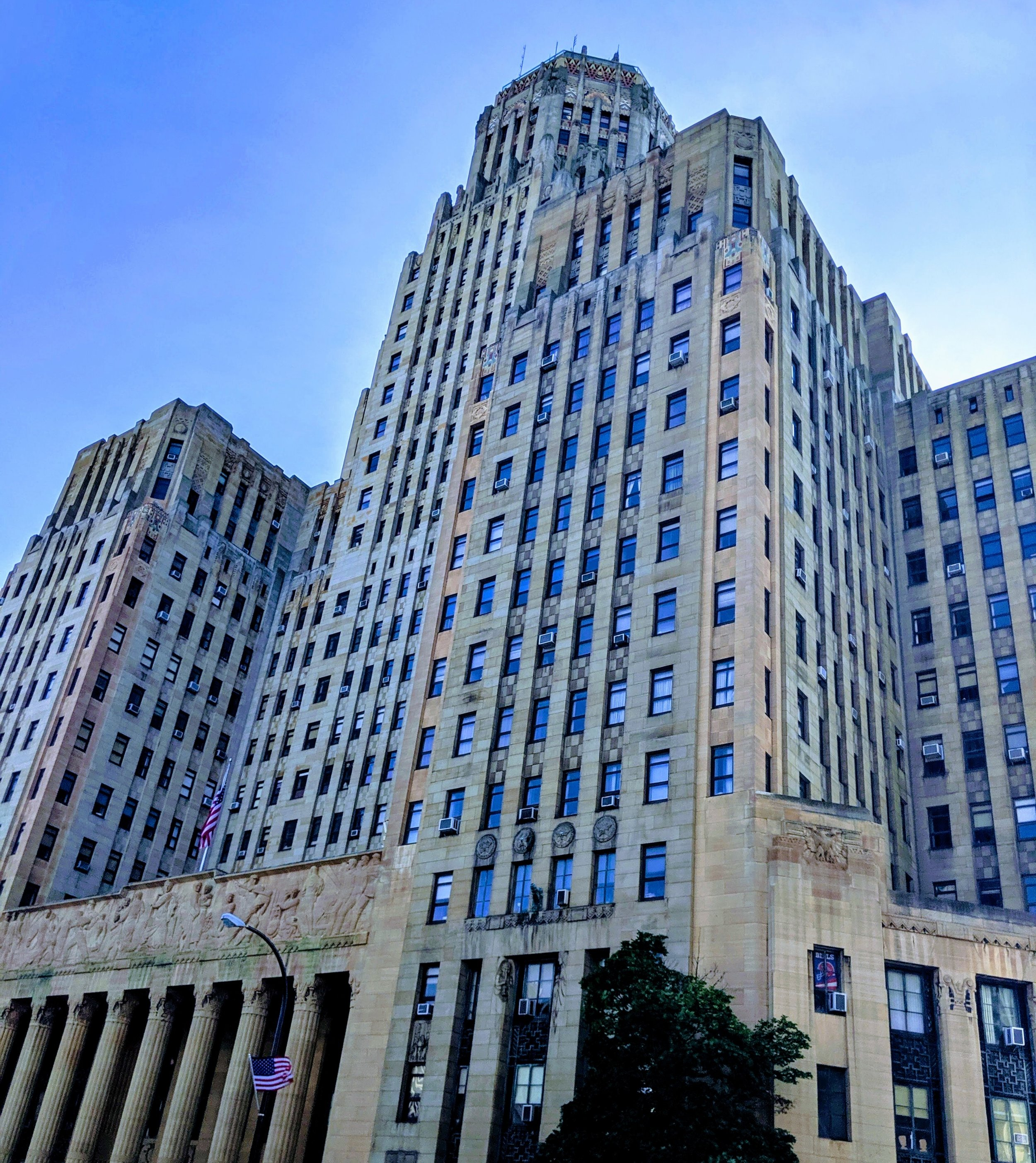 The Buffalo City Hall is a 32-story Art Deco building was designed and built with a non-powered air-conditioning system, taking advantage of strong winds from Lake Erie. Large vents were placed on the west side of the building to catch the wind, which would then travel down ducts to beneath the basement, to be cooled by the ground. This cooled air was then vented throughout the building.