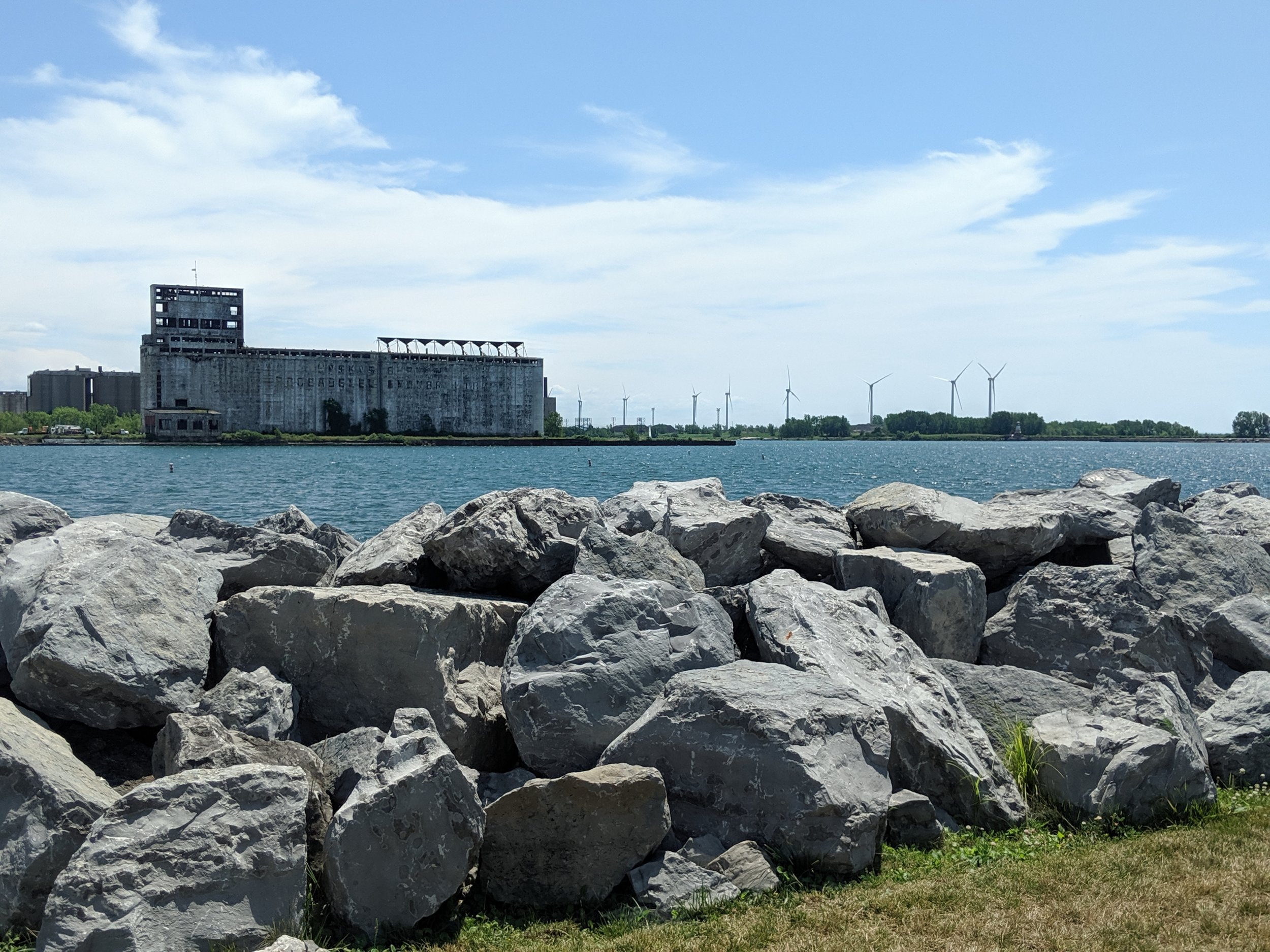 Here is a great shot of Old and New Buffalo. The grain elevators on the left and the wind turbines on the right. They coexist beautifully don't you think?