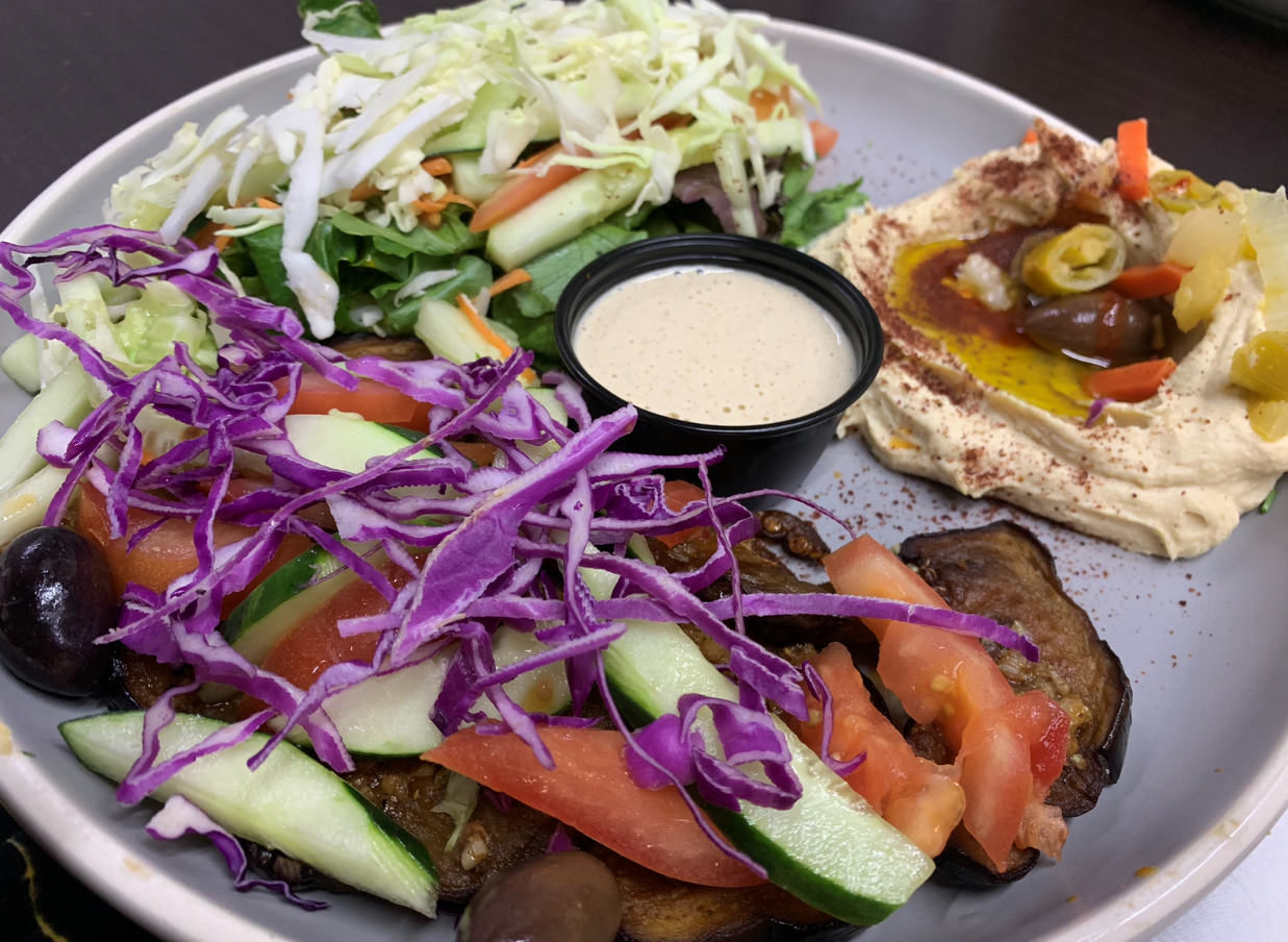 This right here is that fried eggplant platter that Tabitha raved about from  Cleo's Mediterranean  in NOLA!