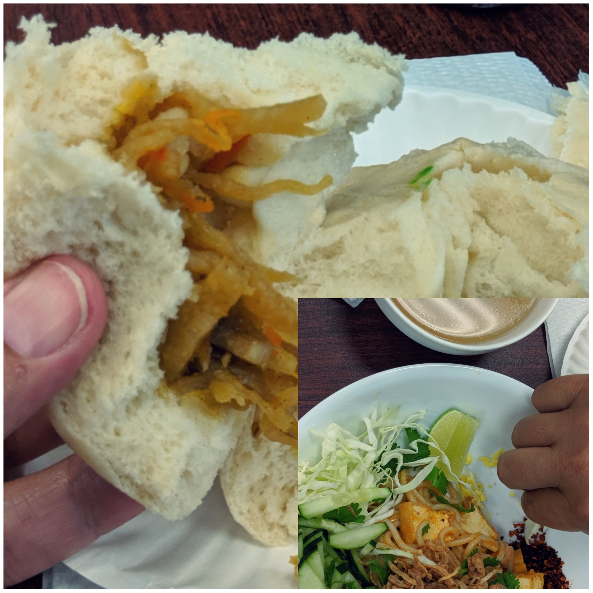 The vegetable bao (bun) from  007 Chinese Food  and that plate of deliciouus garlic noodle salad from  Rakhapura Mutee and Sushi  brought China and Burma to my lunch that day at  West Side Bazaar !