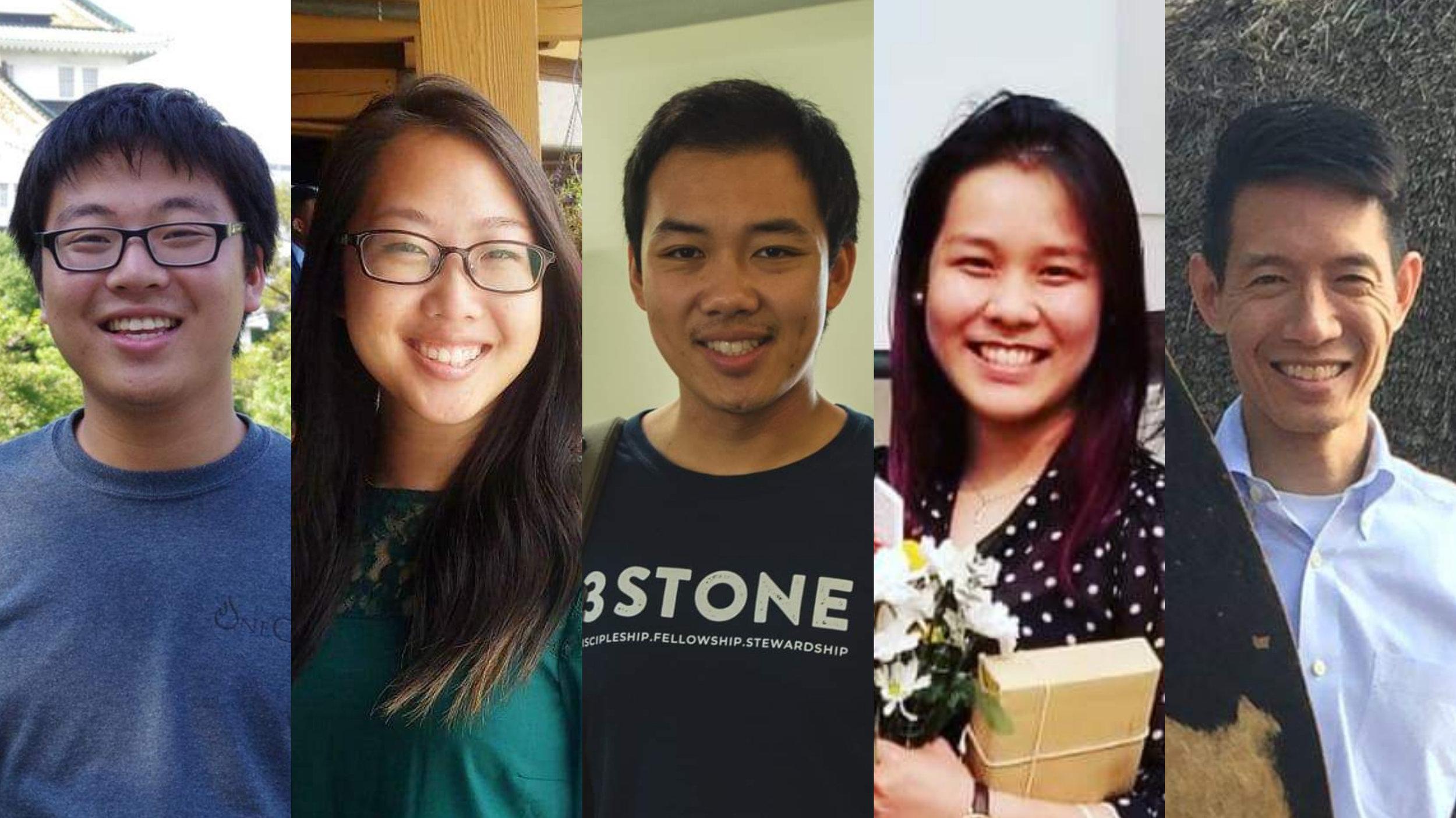 3Stone Taiwan 2019 team: Caleb Wu, Jessica Lau, Justin Mui, Liza Sang, Rev. Stephen Ko
