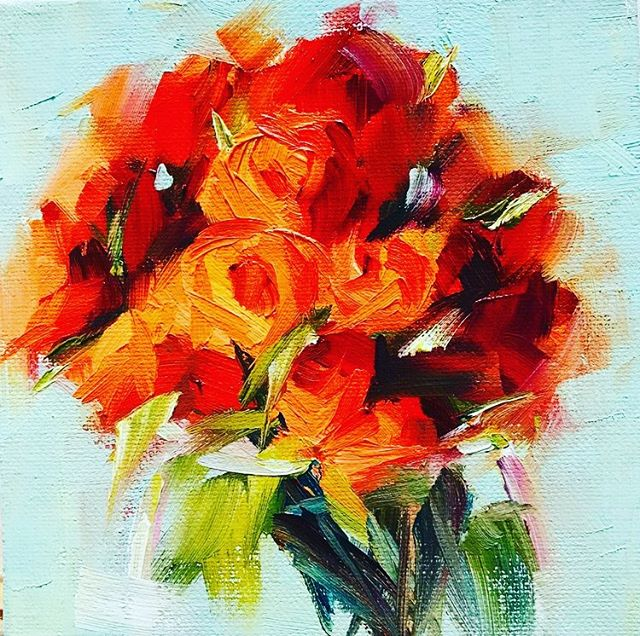 """Red Roses"" #oilpainting #art #artistsoninstagram #painting #impressionism"
