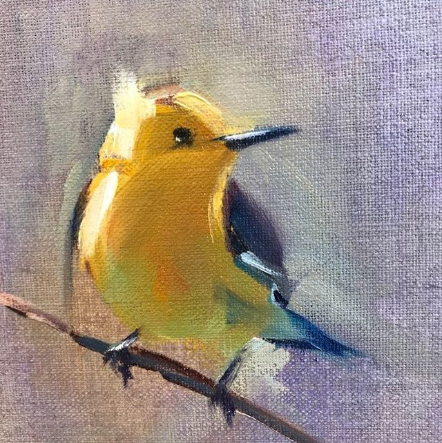 Yellow Bird 💛 #oilpainting #art #birds #painting #artistsoninstagram