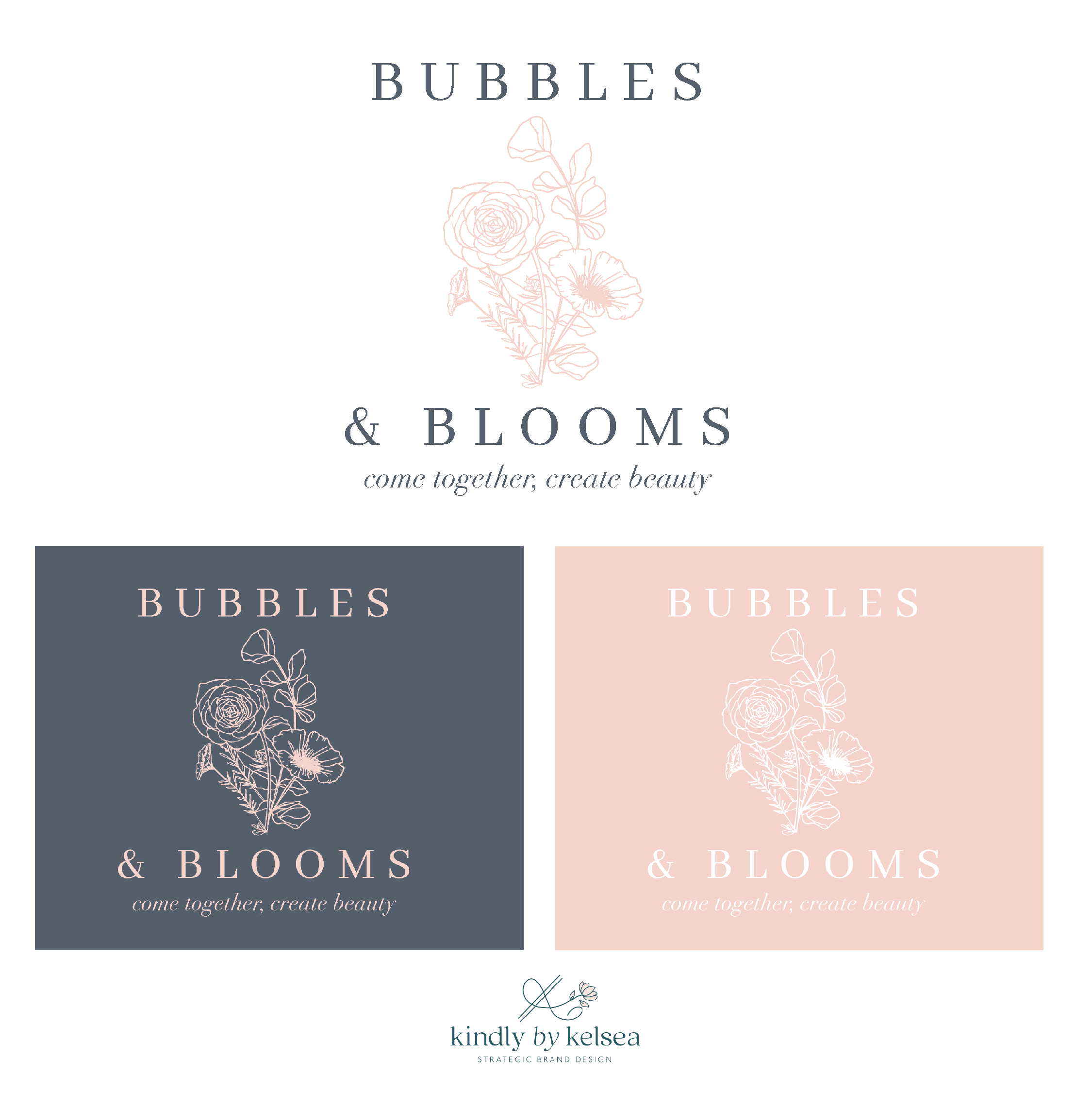 Bubbles and Blooms Katy Texas Florist brand and logo design by Kindly by Kelsea