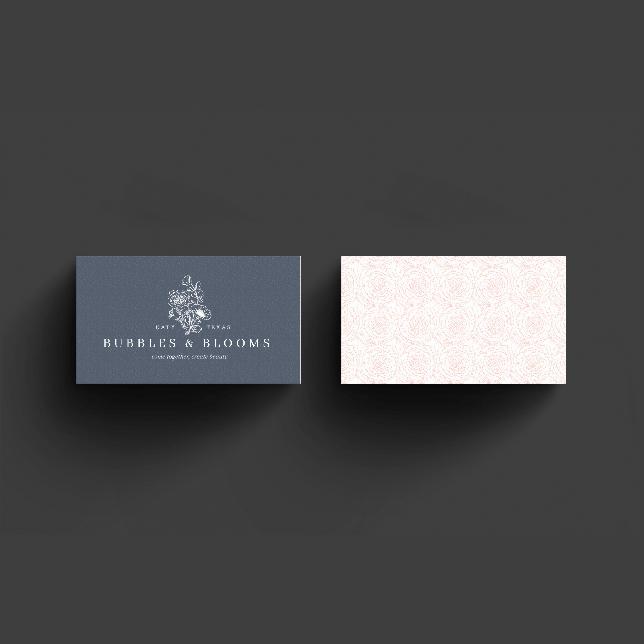 Bubbles and Blooms Katy Texas Florist business card and logo design by Kindly by Kelsea