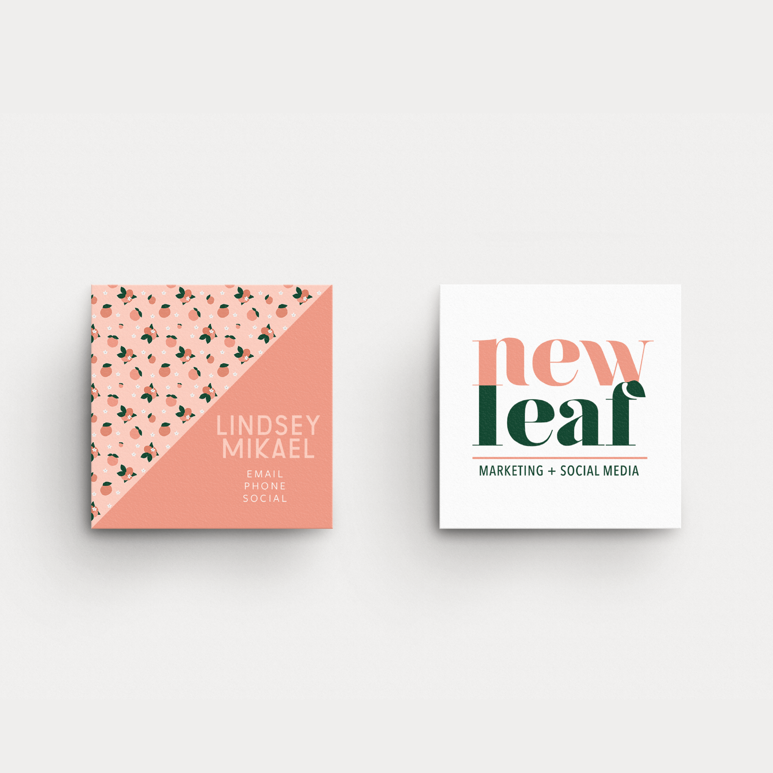New Leaf Social Media and Marketing Houston Brand and Business Card Design by Kindly by Kelsea