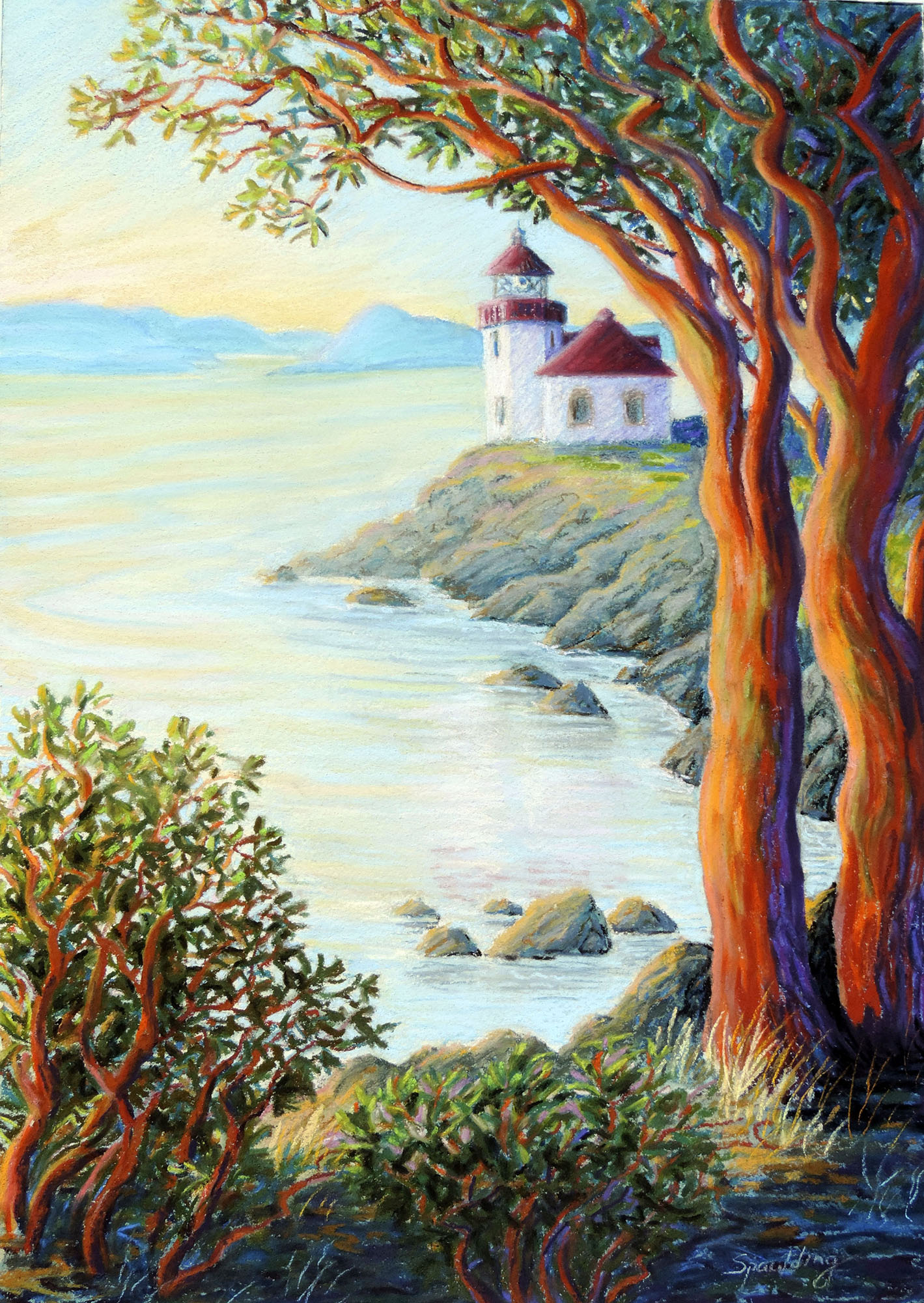 "Afternoon at Lime Kiln Lighthouse   Pastel  15 x 21""  SOLD"