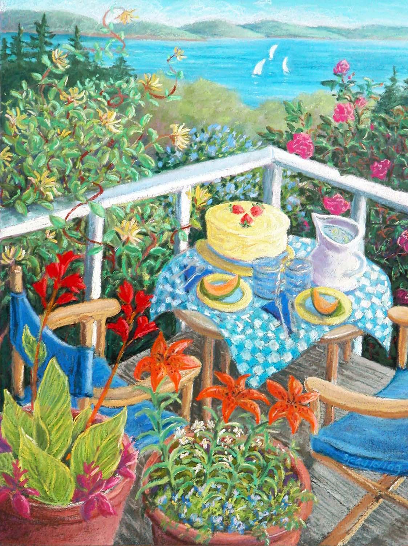 "Cake In the Garden   Pastel  9.5"" x 11"""