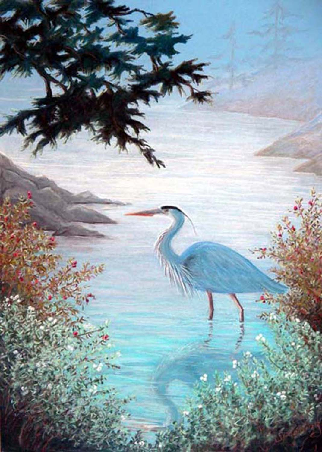 "Autumn Mist with Heron   Pastel  15 x 21""  SOLD"