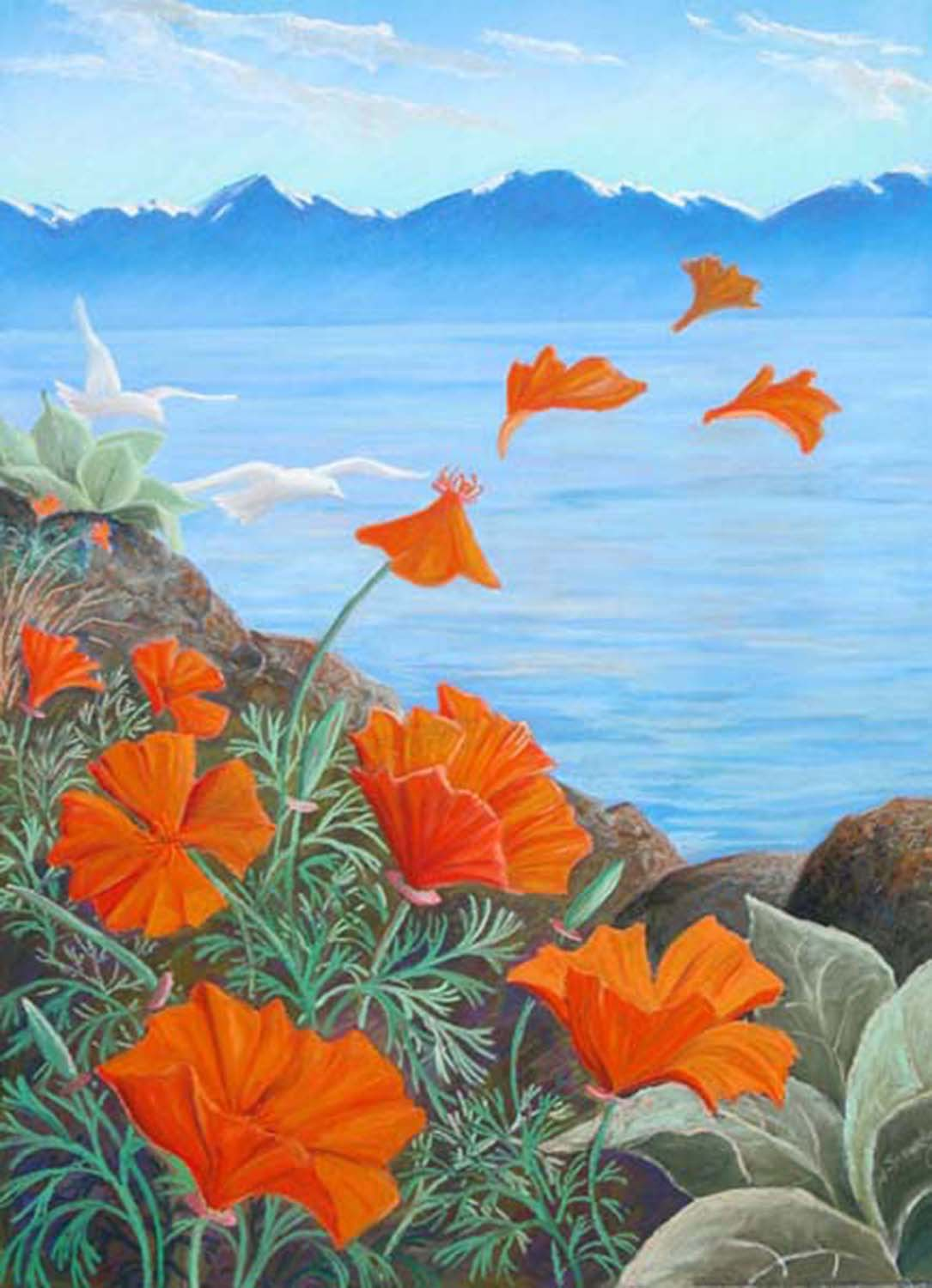 "Poppies Letting Go   Pastel  15 x 21""  SOLD"