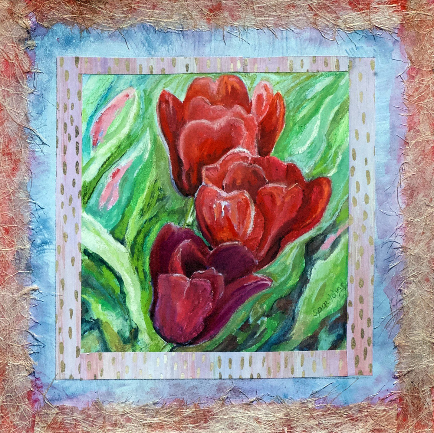 Red Tulips for True Love, Pastel with Collage