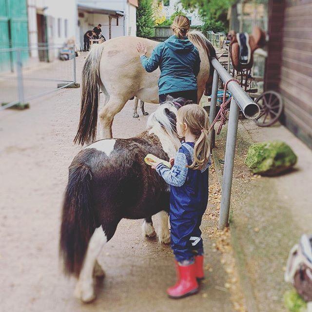 Kleines Mädchen, kleines Pony. Großes Mädchen, großes Pony. Danke @littleqcowgirl #familytime #happysunday #littleqranch #mitkindernundtieren