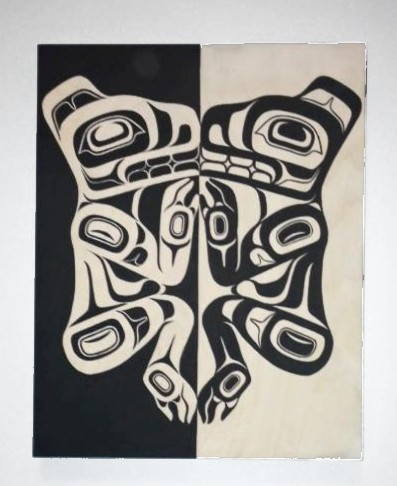 """CBC Phone Interview - """"Jamie Nole, a member of the Frog clan and from the Tahltan and Nisga'a Nations, has several paintings on wood and paper in the exhibit. Nole said art helped her deal with trauma in her life.'Making art definitely helps make me feel better,' she told CBC Radio's North By Northwest host Sheryl MacKay."""""""