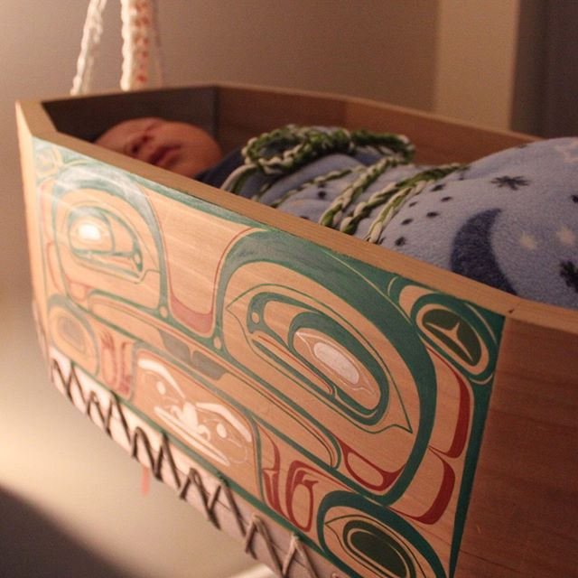 Here are some pictures of the cradle that was made by myself, my fiancé, and his brother for baby Milit. →swipe to see more photos & the amazing story my fiancé wrote on our son's name and the cradle that was made → #nisgaa #nisgaanation #indegenous #culture #northwestcoastart #NisgaaArt