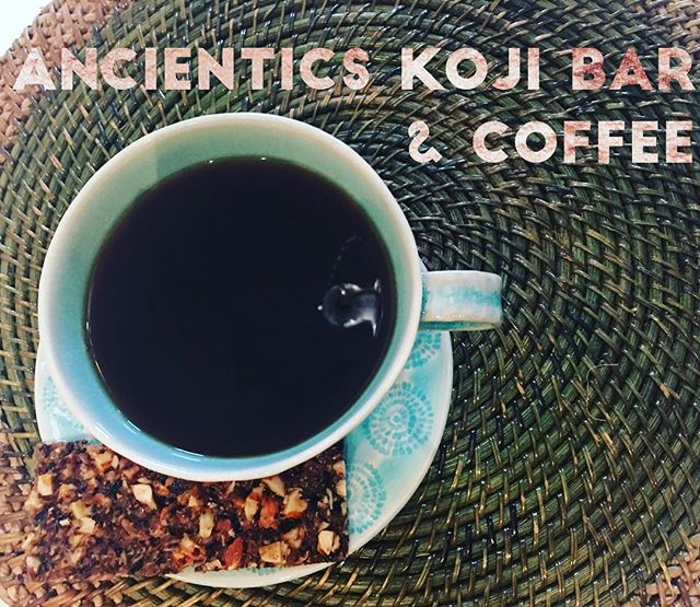 Ancientics koji bar+coffee is a perfect breakfast with pro & pre biotics and antioxidants to kick-start your day ✨☕️✨☕️ : : :  #beautyfood #healthyfood #plantbased #cleaneating #healthyfoodlovers  #vegan #innerbeauty #wellness #eatclean #yum #healthy #beauty #nautalbeauty  #nyc #newyork  #wellbeing #ancientics #fermentation #probiotics #aminoacids #fermentedfood #koji #amazake #brooklyn #smallbatch #ancienticskojibar #ニューヨーク #ブルックリン #発酵 #甘酒