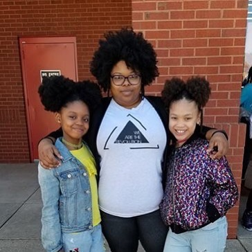 Here is Sister Sherronda with two young guests at her #awitchallengeGBoro event. #awitchallenge