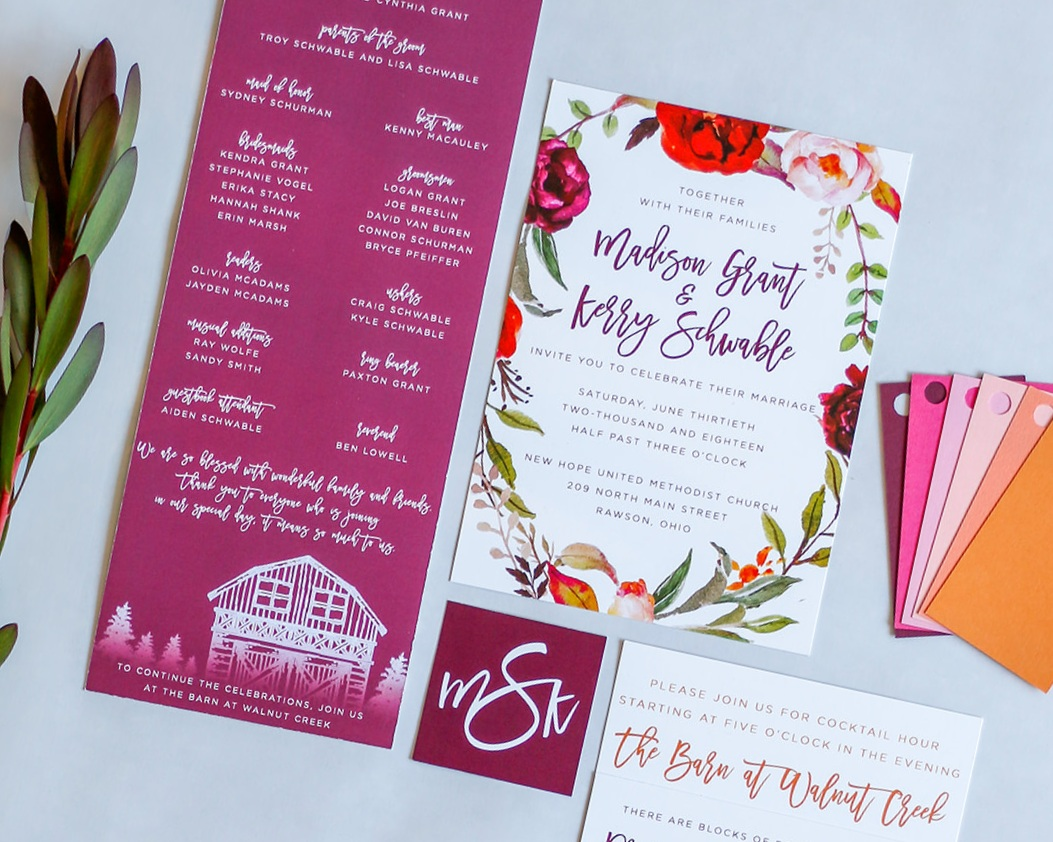 4-Piece Invitation Suite paired with a coordinating Ceremony Program