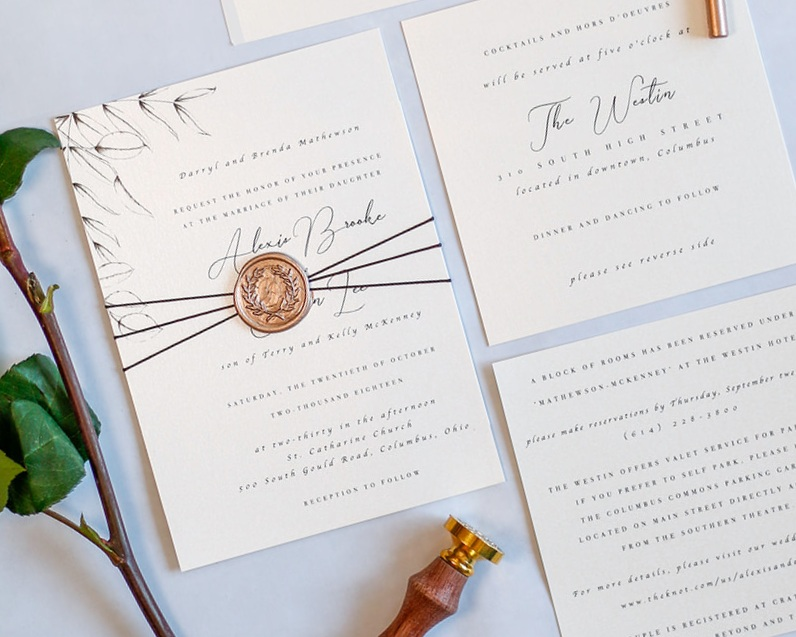 4-Piece Invitation Suite with Wax Seal & Thread Assembly