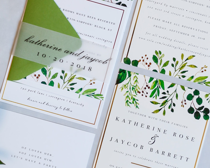 3-Piece Invitation Suite paired with Vellum Belly Band Assembly