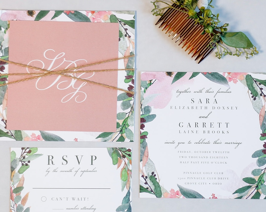 3-Piece Invitation Suite with Twine Tie Assembly