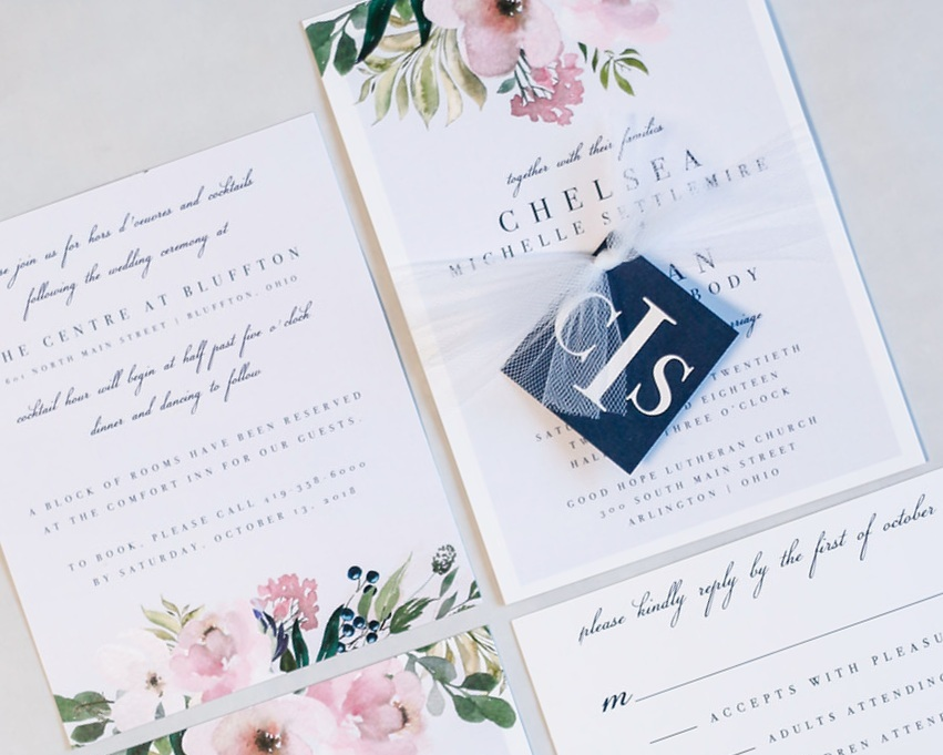 3-Piece Invitation Suite paired with Monogrammed Tag & Tulle Tie Assembly