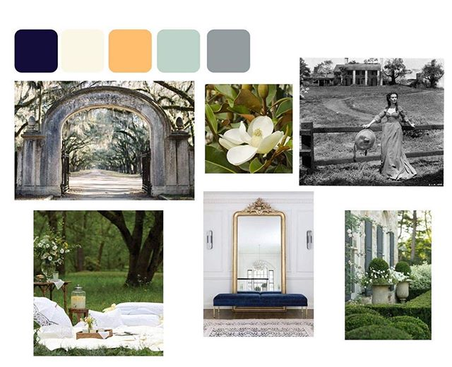 Currently working on a Gone with the Wind suite for a styled shoot next week - How fun is that?! I don't think if ever worked with this color palette before and IM LOVING IT 🌿 When you see this mood board, what comes to mind?