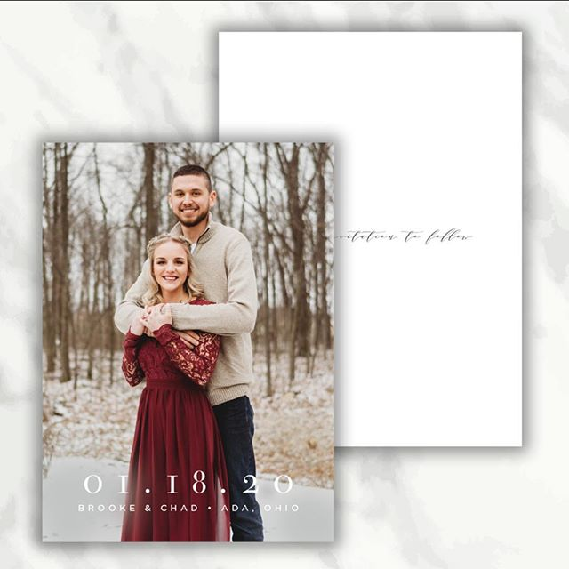 In honor of Christmas in July earlier this week, it only makes sense to share this winter Save the Date ❄️ just ignore today's 90 degree heat!⁣ ⁣ Paired with this double-sided postcard were custom-addressed envelopes - making these a quick and easy way for guests to mark their calendars for your special day!⁣ ⁣ Getting married next winter? Contact me today for your save-the-date needs! 💌