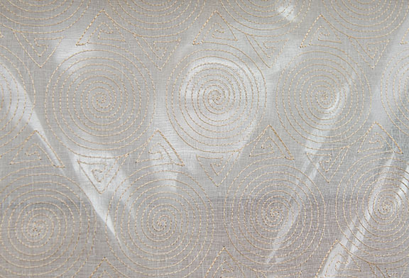 "CONE  BEIGE        100% POLYESTER                                 110"" WIDE - WASHABLE                                 EMBROIDERY  SHEER"