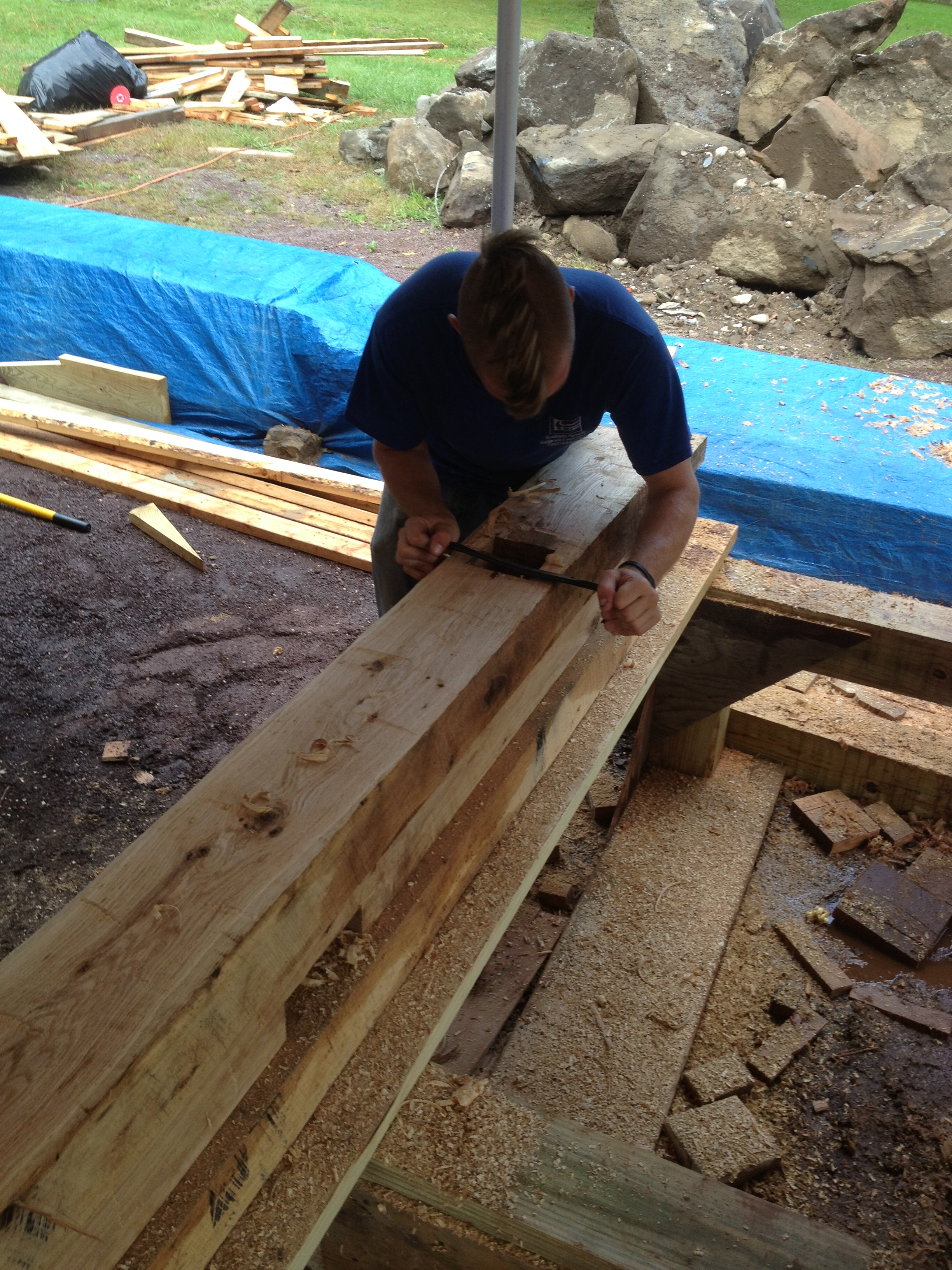 terri feralio - hand hewn and draw knife timber framing.JPG
