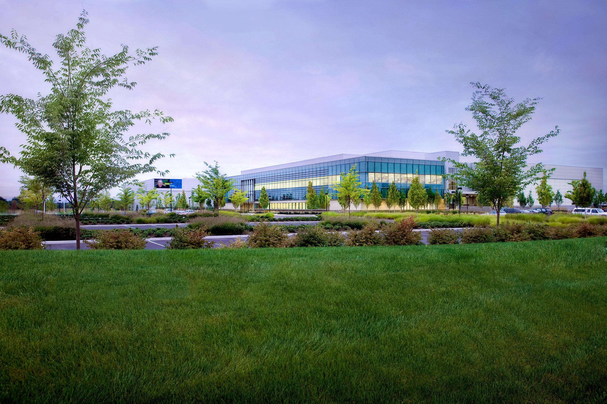 Corporate office building and landscape in North Hillsboro