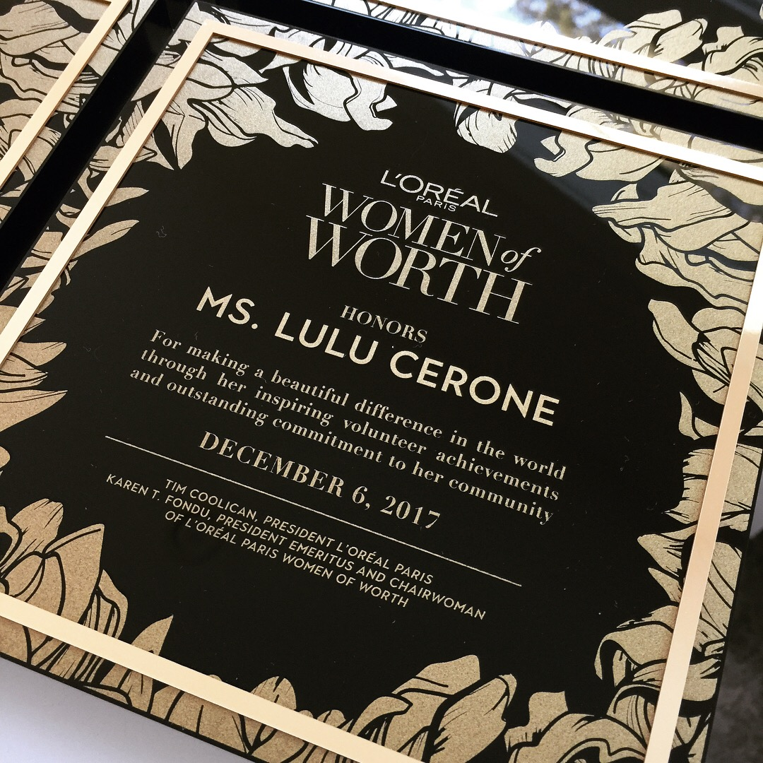 L'Oreal  \\ L'Oreal honored  #womenofworth - extraordinary women who find beauty in giving back to their communities. We were honored to design their awards and watch them receive them in NY.