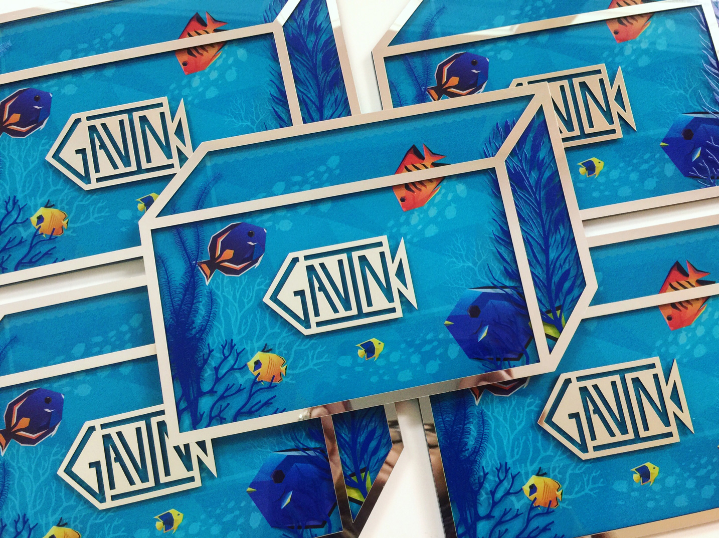Gavin  \\ Another aquatic theme! This time for one fun kid who loves sealife. We created a multi-dimensionally printed aquarium. Not sure if that's a real thing but that's what we did. Even his monogram is fishy.