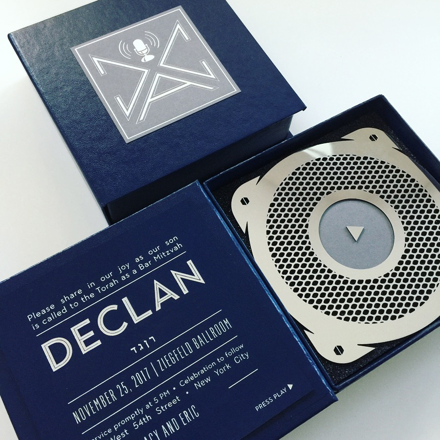 """Declan  //P R E S S P L A Y ! Hear the rap written and performed by Declan himself for his Bar Mitzvah invitation. It was a """"hitzvah""""!"""