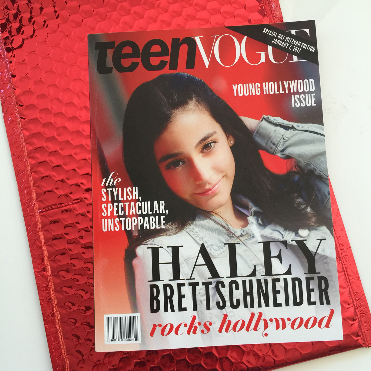 Haley  \\ When your invitation should be on newsstands because your Bat Mitzvah is so fashion-forward.A magazine complete with the amazing Bat Mitzvah girl featured on the cover as well as in the ads!