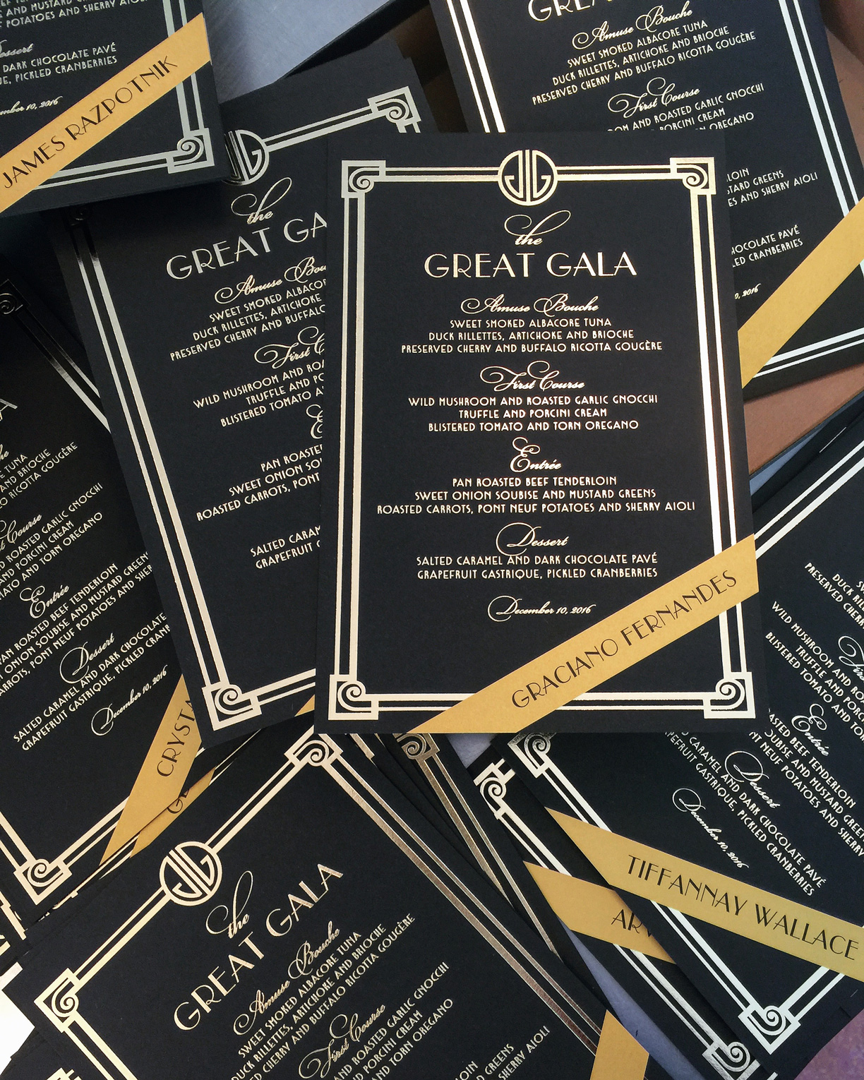 The Great Gala  \\ Loving these oversized menus we created for last night's Gatsby-themed holiday party. Digging the method we used to personalize each one.