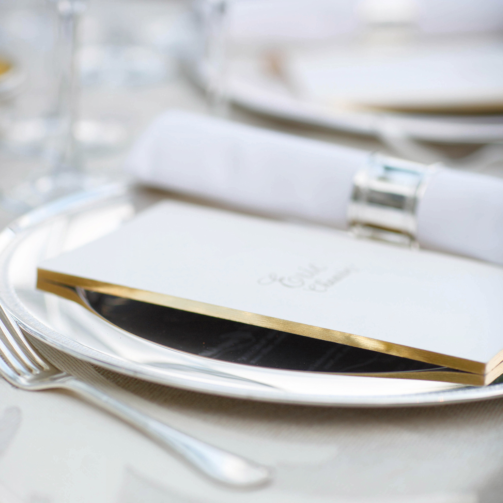 Sallee  \\Living on the edge. Quarter inch thick gilded menus for a destination wedding in Instanbul.