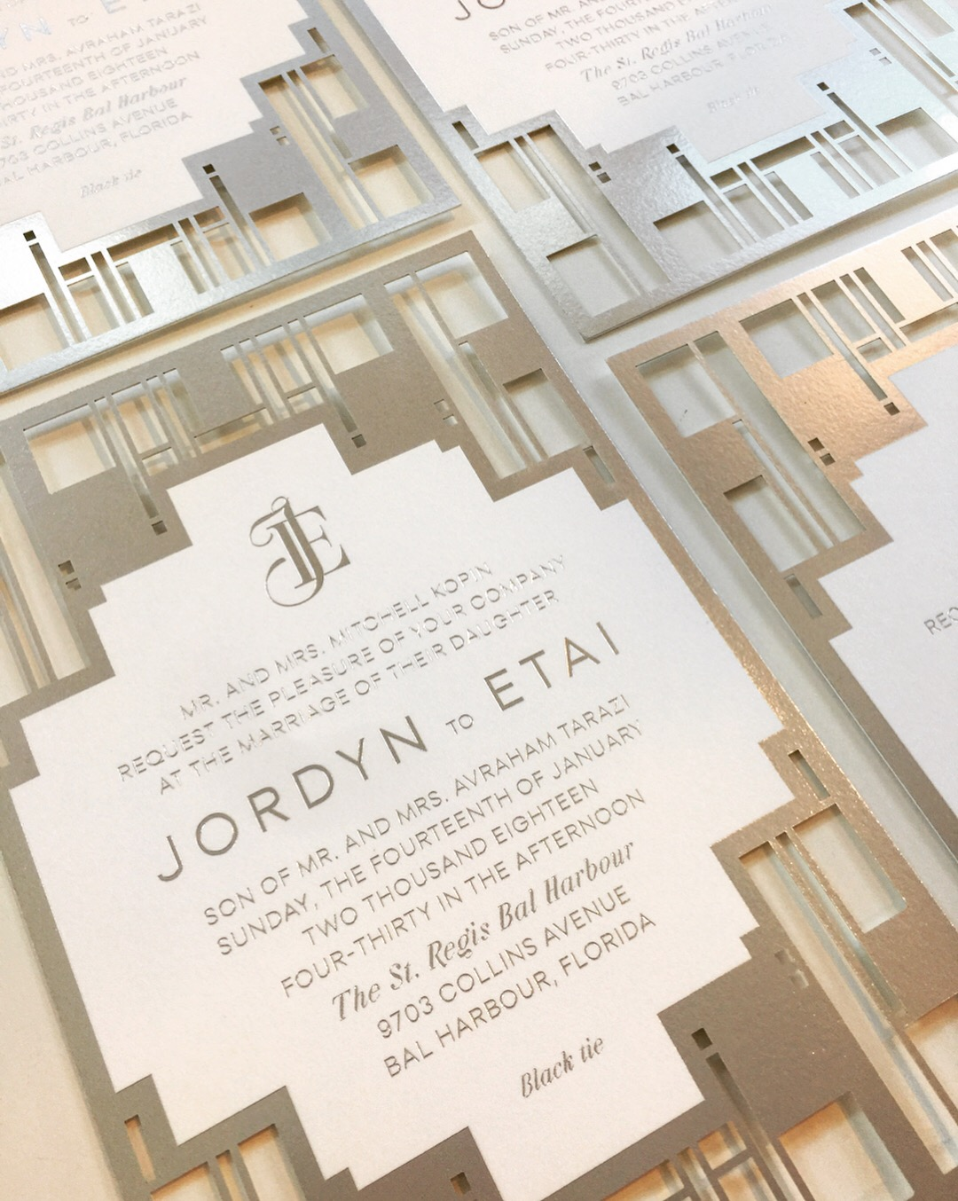 Jordyn &Etai  \\See what inspired the design of Jordyn and Etai's wedding invitations ...the iconic St. Regis Bal Harbour entrance! Congratulations on tying the knot yesterday you two.