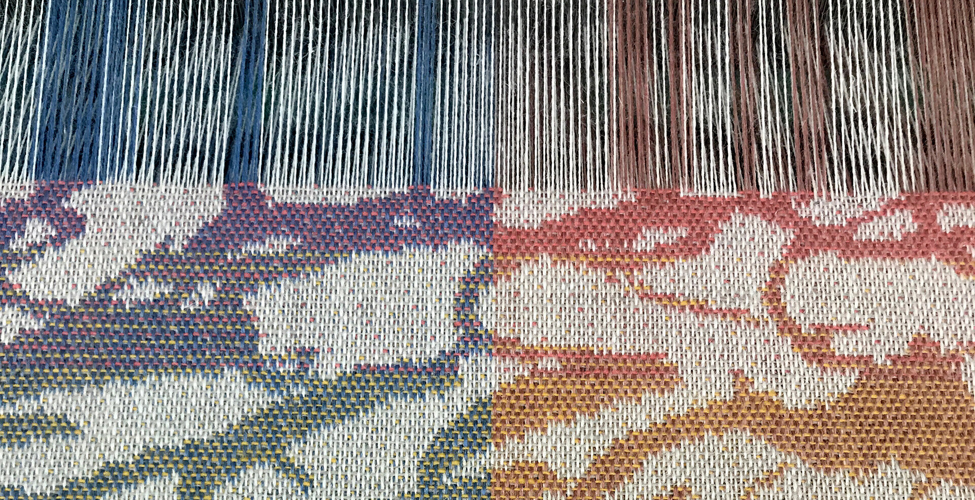 Photo credit: close up of Waterlake on the loom @ Camira Fabrics